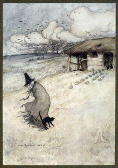 """There's an Old Woman Dwells Upon Tappington Moor"" - Arthur Rackham"