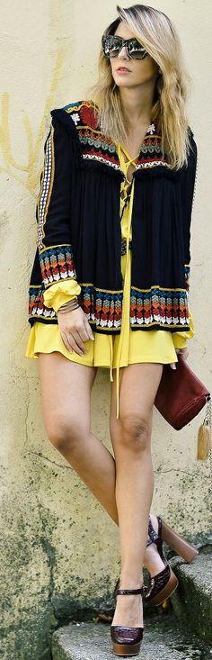 Ma Petite By Ana Yellow Dress Ethnic Jacket Fall Inspo