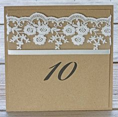Rustic Lace table numbers, printed on recycled kraft brown card with ivory lace trim for the perfect rustic wedding stationery range. Flat card design with space for your personalised text ( Table numbers or names ). Printed on both sides. Rustic Lace information insert cardsare 150x150mm and come with a complimentary printing of personalised text. A full range of wedding stationery is available to compliment theRustic Lace table num...
