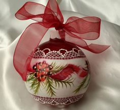Hand Painted Christmas Ornament Red Cottage Chic Pine & Berries & Lace HP Glass