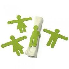 Divertidas figuritas en verde que sirven como aros para tus servilletas