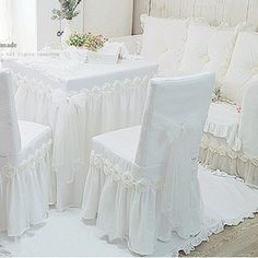 Waj princesa de encaje blanco mantel de lujo subió mesa tela silla cojín redondo / cuadrado mantel cubierta de la silla de tamaño personalizado