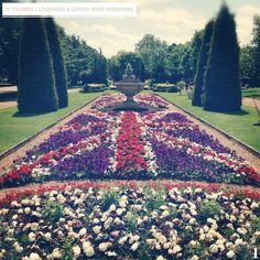 Garden flower design, of the British flag.