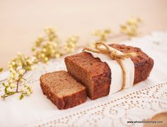 A quick, easy and delicious wholefood banana bread. Free from gluten, grains, dairy, nuts and refined sugar. Perfect for breakfast, lunches and snacks.