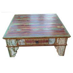 Mesa de centro colorida-2422 #arte #moveis #rusticos - www.artemoveisrusticos.com.br
