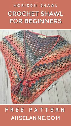 The basics of this crochet shawl is knowing how to create a double crochet stitch. If you can master this stitch, then the rest is just counting & creating. Granny Square Crochet Pattern, Easy Crochet Patterns, Crochet Granny, Double Crochet, Granny Square Sweater, Crochet Edgings, Granny Square Blanket, Crochet Motif, Diy Crochet