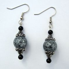 Beautiful Black and Grey Crackle Glass Orb Drop Earrings $12.00