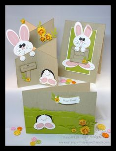 Stampin' Up! ... handmade Easter cards from Fiona's Crafting .... kraft with wood grain embossing ... punch art bunnies ...