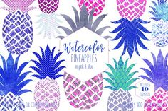 #Pineapple #Graphics in #Pink & #Blue by #Clipart Brat Graphics on @creativemarket