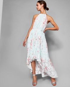 Womens Ted Baker Aureila Mint Soft Blossom Pleated Maxi Dress from UKTEDC Ted Baker womenswear collection only Cascading to the floor in a froth of frilly pleats, Ted's alluring AUREILA dress makes a sophisticated choice for stylish soirees. Mint Maxi Dresses, Pale Blue Dresses, Boutique Maxi Dresses, Mint Dress, Pink Wedding Dresses, Bridesmaid Dresses, Prom Dresses, Wedding Outfits, Bridesmaids