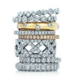 stacked rings - yes! (Tiffany & Co. Celebration rings.)