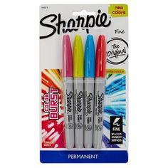 Sharpie Color Burst Permanent Markers, Fine Tip, 4ct - Multicolor Ink