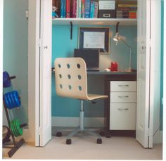 I don't really like the idea of a closet office (doesn't see lime it would be functional or comfortable) but I like the colors here, the shelving, and the chair.
