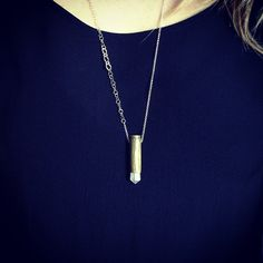 gorgeous rose quartz bullet necklace by cravejewelrydesign on Etsy, $45.00