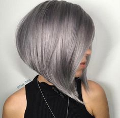 Short Hairstyles for Women: Gray A-Line Bob