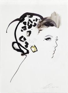 I love that it is more the impression of a woman, the idea of her…(illustration by David Downton).