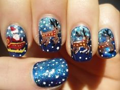 Santa Sleigh and Reindeer Nail Art Christmas Tutorial http://www.youtube.com/watch?v=gMGE6oS71qg=em-uploademail