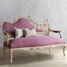 Eloquence One of a Kind Vintage Settee Italianate Dusty Violet @Sarah Nasafi Grayce