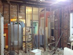 Wall demo. Country Chic Kitchen, Ft Island, Coffer, Reclaimed Barn Wood, Wood Accents, Subway Tile, Ceiling, Wall, Safe Room