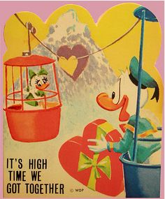Great vintage Disneyland valentine, featuring the Matterhorn and the Skyway.