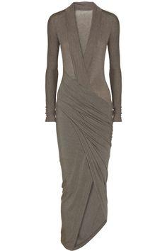 Donna Karan New York   Gray Draped Wrapeffect Jersey Dress   Lyst