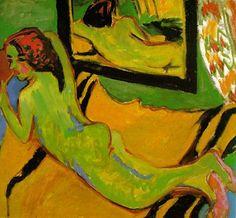 Ernst Ludwig Kirchner - Liegender Akt vor Spiegel