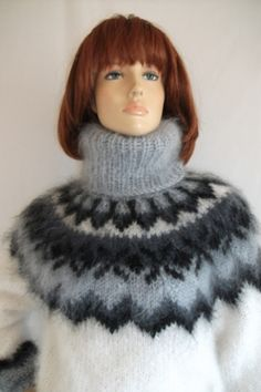 Icelandic mohair sweater white and grey -L Nordic Sweater, Mohair Sweater, Icelandic Sweaters, Black Pattern, White Sweaters, Sweater Fashion, Knitting Patterns, Winter Hats, Turtle Neck