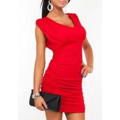 trendsgal.com - Trendsgal Scoop Neck Sleeveless Solid Color Ruched Dress - AdoreWe.com