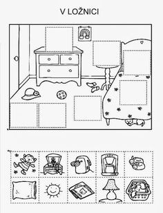 Puzzle cut and paste – bedroom – Knippen English Activities, Preschool Learning Activities, Kindergarten Worksheets, Educational Activities, Teaching Kids, Kids Learning, Cut And Paste, Speech And Language, Pre School