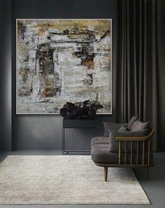 Oversize handgemachte Textur abstrakte gerahmt Wand Kunst grau   Etsy Framed Wall Art, Wooden Frames, Modern Contemporary, I Shop, Texture, Photo And Video, Canvas, Grey, Artwork