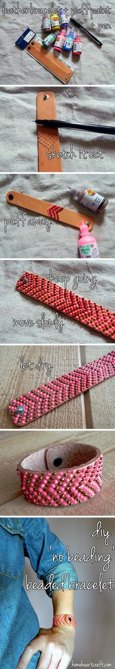 Love the look of intricate beaded bracelets? Don't have the time or patience to work with the teensy beads? Home Heart Craft shows you a faster way to get the look using puff paint on leather cuff bracelets - finally, something to do with the leather scraps!