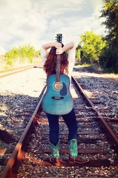Teen Girl Picture | Girl With Guitar Picture | Railroad Tracks - www.angelic-images.com