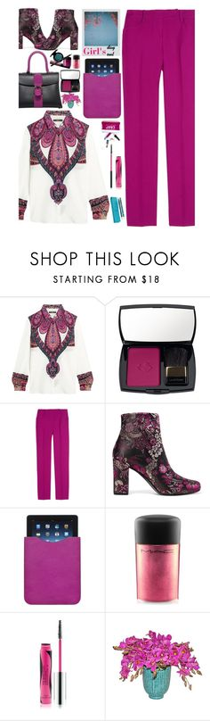 """Blouse n Slacks"" by emcf3548 ❤ liked on Polyvore featuring Etro, Lancôme, Emilio Pucci, Yves Saint Laurent, Mulberry, MAC Cosmetics, The Body Shop and Harrods"