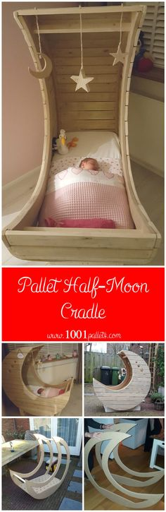 I made this half-moon cradle from used pallets. I have all the pallets I needed from my work, so I don't know how much pallets exactly are in it. As always with any pallet project for a bedroom and even…
