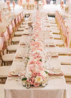 Beautiful pink floral runner! Click to view the full wedding.