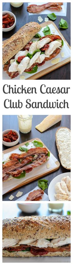 Light Chicken Caesar Club Sandwiches with Bacon. This recipe looks delicious!