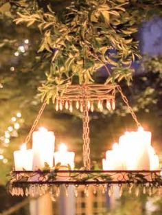 DIY Outdoor Chandelier: Fasten crystals to an antique chandelier, use wire garden fencing to create a stable bottom level, place Candle Impressions Outdoor Candles w/ remote option on the bottom level. Decorate with moss and leaves and voila! Your own rustic outdoor chandelier