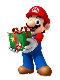 Super Mario Christmas Present Super Mario Bros, Super Mario Party, Super Mario Birthday, Mario Birthday Party, Super Mario Brothers, Bolo Do Mario, Bolo Super Mario, Super Mario World, Mario Und Luigi