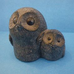 Vintage Owl and Owlette Wolf Original Handmade Black Soapstone Sculpture. $36.00, via Etsy.