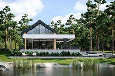 Projekt domu letniskowego HomeKoncept-66 A DL o pow. 107,1 m2 z dachem dwuspadowym, z tarasem, z antresolą, sprawdź! Modern Log Cabins, Modern Lake House, Small Modern Home, Hotel Design Architecture, Modern Architecture, Small House Design, Modern House Design, House Front, My House