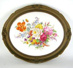 KPM Berlin Porzellan Bildplatte in Holzrahmen Wandbild Handbemalt Blumendekor | eBay