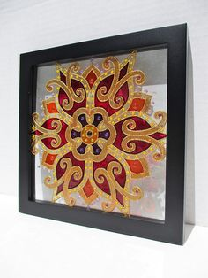 Broken Glass Art, Sea Glass Art, Glass Painting Designs, Paint Designs, Transparent Glass Paint, Tree Of Life Art, Mandala Canvas, Stained Glass Paint, Traditional Paintings