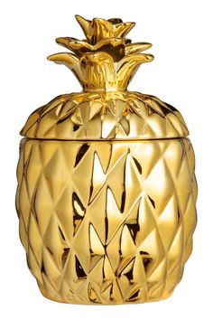 Candle in a ceramic holder: Candle in a pineapple-shaped ceramic holder with a lid. Unscented. Diameter 9 cm, height including lid 15 cm. Burn time 5 hours.