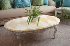Coffee Table Makeover, harlequin design done in Arles chalk paint (inventory:4)