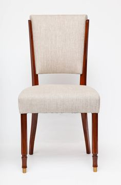 Set of Six Dining Chairs by Jules Leleu | From a unique collection of antique and modern dining room chairs at https://www.1stdibs.com/furniture/seating/dining-room-chairs/