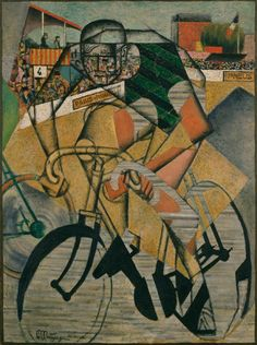 Jean Metzinger, At the Cycle-Race Track (Au Vélodrome), 1912, Oil, sand and collage on canvas