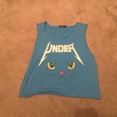 pac sun cat crop top its a super cute blue crop top. got it at pac sun size medium. could fit a size xs and small too PacSun Tops Tank Tops