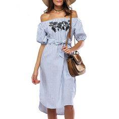 Women Off shoulder Dress Short Sleeve Slash Neck Striped Casual Dress