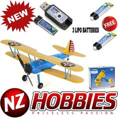 E-Flite UMX PT-17 with AS3X BNF Airplane RC Biplane w/ THREE LIPO BATTERY PACKS - NZ HOBBIES