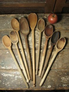 Grandma's Collection of Old Wooden Farmhouse Kitchen Spoons  $135